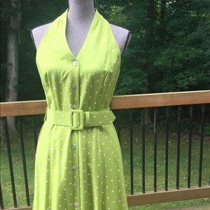 Maxi Sleeveless Dress Green With Polka Dots